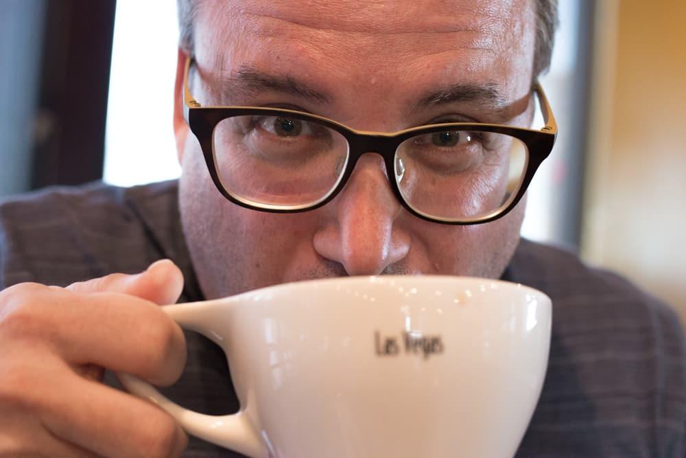 Daryl Drinking coffee at Sambalatte