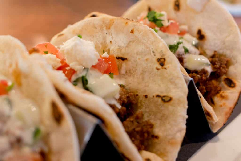 Chef Kerry Simon has established a destination restaurant with his Carson Kitchen in Downtown Las Vegas. The modern gastropub is serving twists on standard dishes like the gyro tacos pictured above. las vegas off the strip