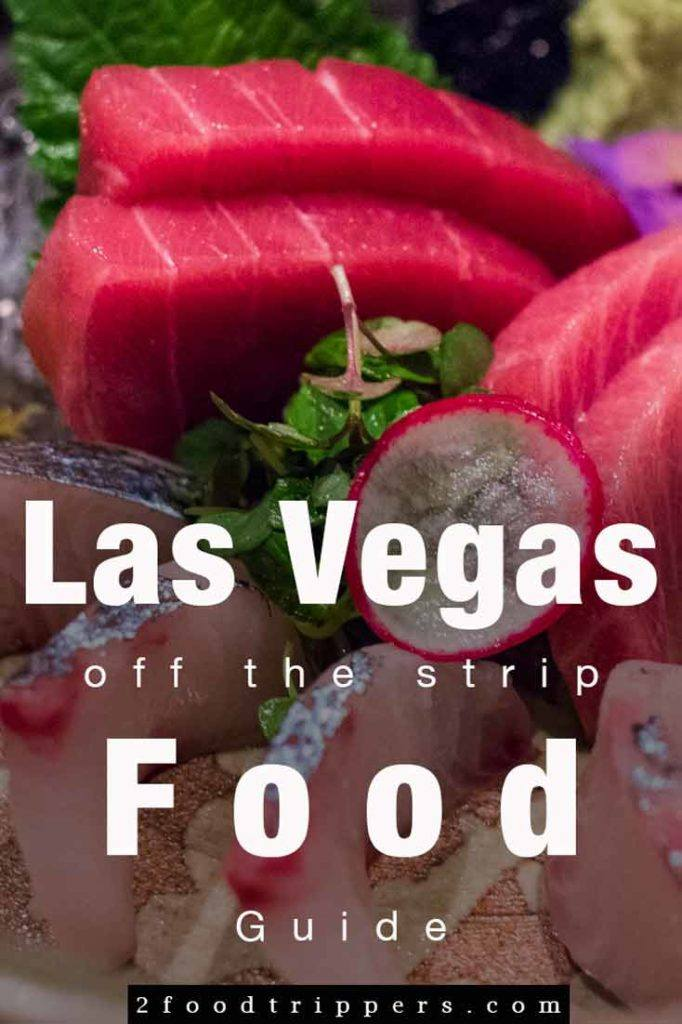 Pinterest image: image of sushi in Las Vegas with caption reading 'Las Vegas Off the Strip Food Guide'
