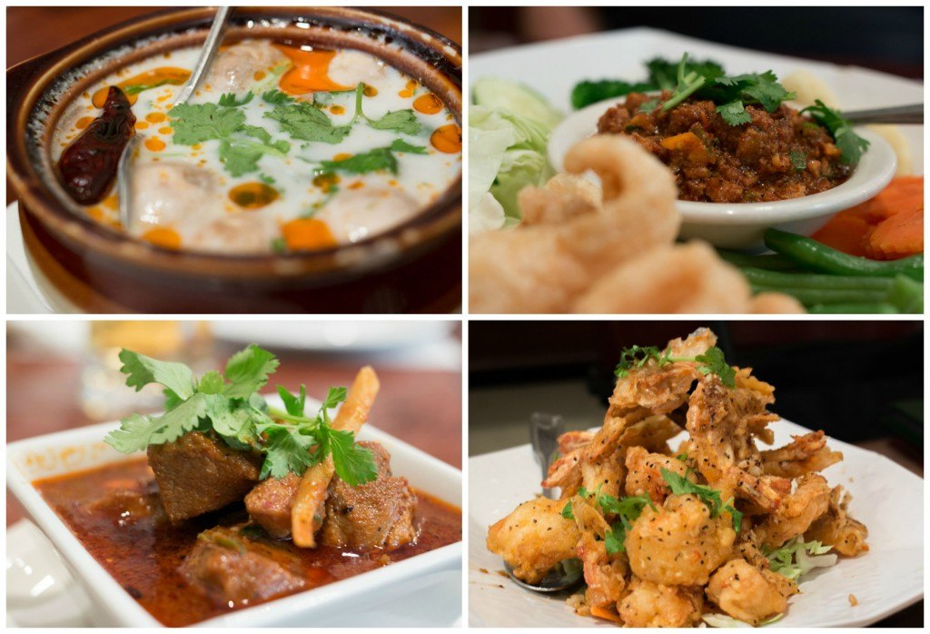 Lotus of Siam serves authentic Thai food that is the next best thing to dining in Thailand. Highlights of themenu include Thom Kah Kai Soup (top left), Nam Prik Ong - Red Chili Dip (top right), Kang Hung Lau - Pork Stew with Curry (bottom left) and Garlic Prawns (bottom right). las vegas off the strip