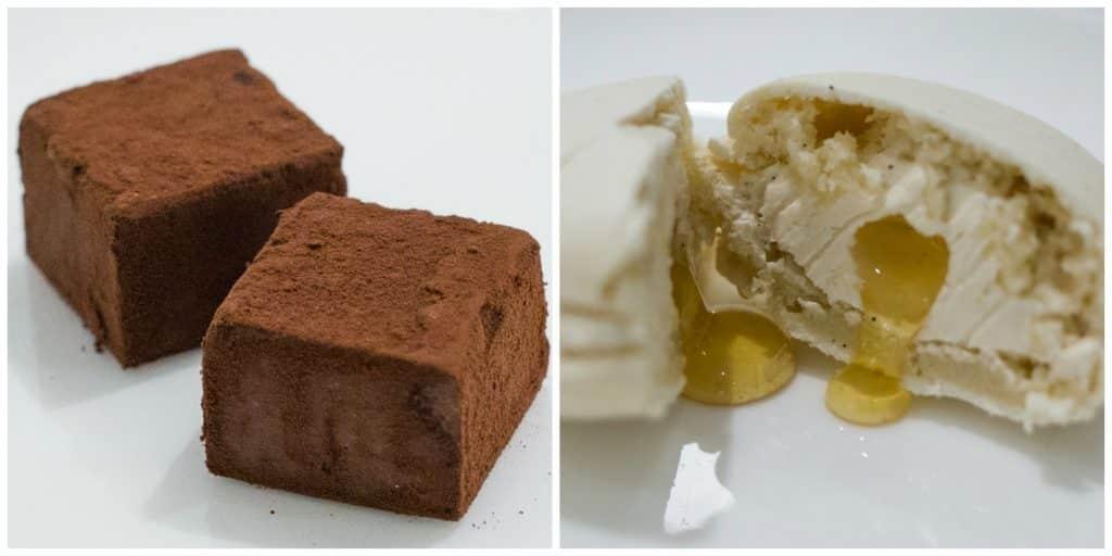 Bonus Desserts - Chocolate Truffles and Vanilla Macaron with Honey. Raku in Las Vegas