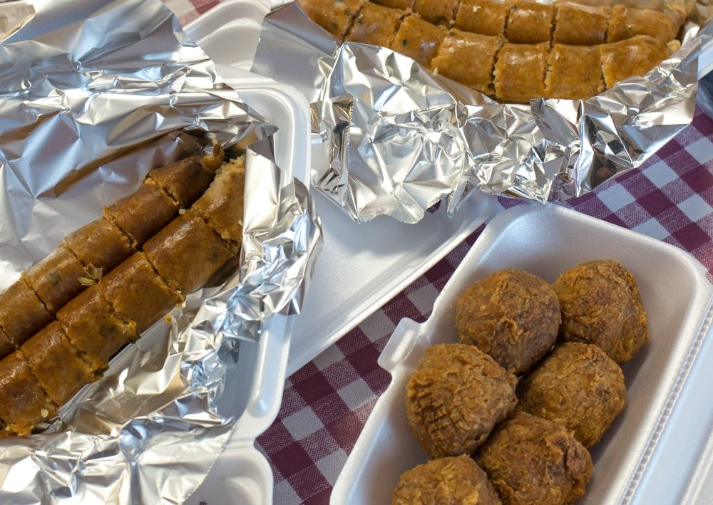There are several boudin varietals at Rabideaux's Sausage Kitchen, a welcomingstop on the boudin trail. Here you can see the hotboudin, the smoked boudin and the fried boudin balls. Seven Fun Things to do in Lake Charles Louisiana