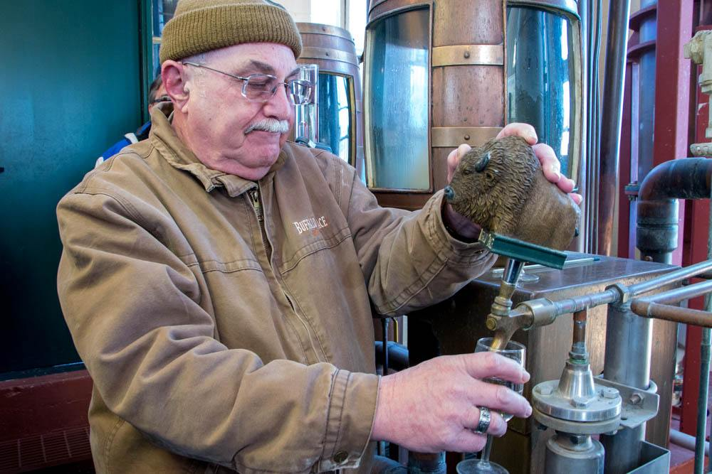 Tour guide Fred Mozenter's bourbon passion is evident during the Buffalo Trace distillery tour. He walks groups through the distillery, explaining the process along the way.