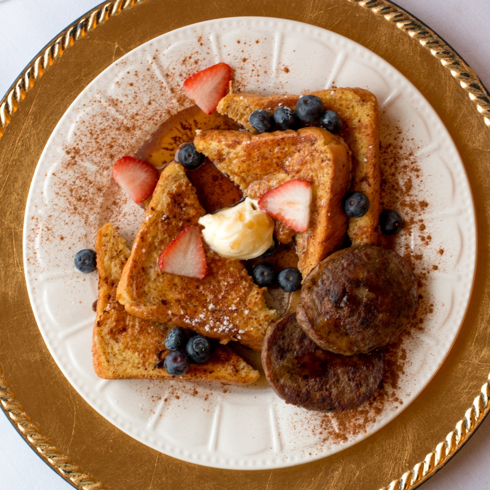 Every day should start with homemade French Toast served with fruit and sausage. Romantic Weekend at the Buhl Mansion Sharon PA Pennsylvania, a Select Registry Hotel