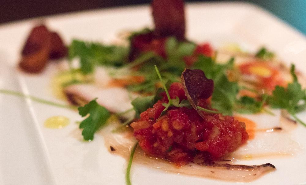 Carpaccio de Pulpo - Braised Octopus, Tomato Escabeche with Malbec Chips. Rural Society Washington DC - The Journey Begins!