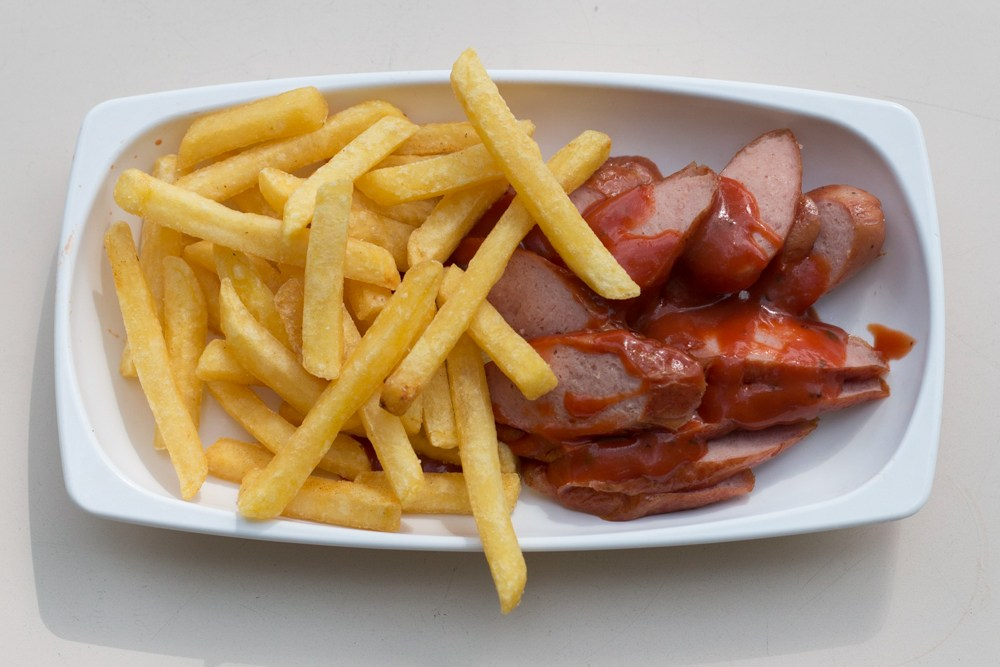 Currywurst and Fries in Basel Switzerland