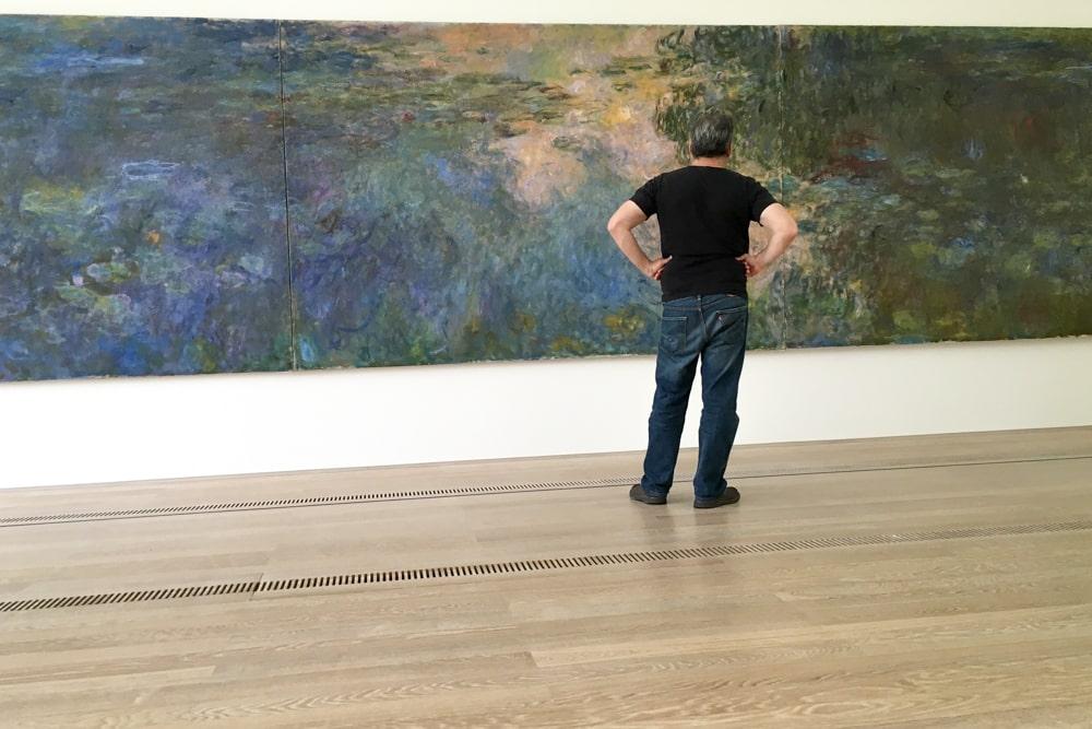 Daryl enjoys Monet's Water Lilies at Fondation Beyeler. Things to Do in Basel Switzerland that Won't Break the Bank