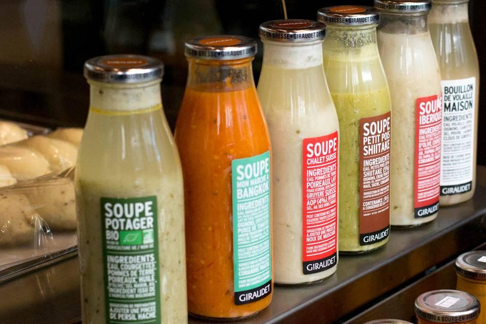 Soup Bottles at Giraudet in Lyon France