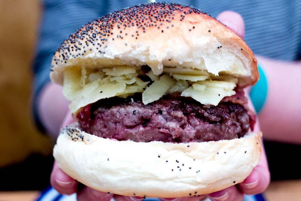 Captain Jack Hamburger at Les Frangins - Where to Eat in Lyon France - A Lyon Food Guide