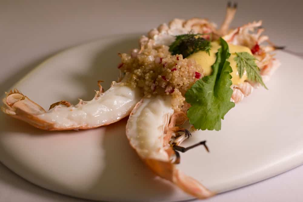 Ultra fresh Langoustine with Sauce Maltaise and Quinoa at Maison Bras.