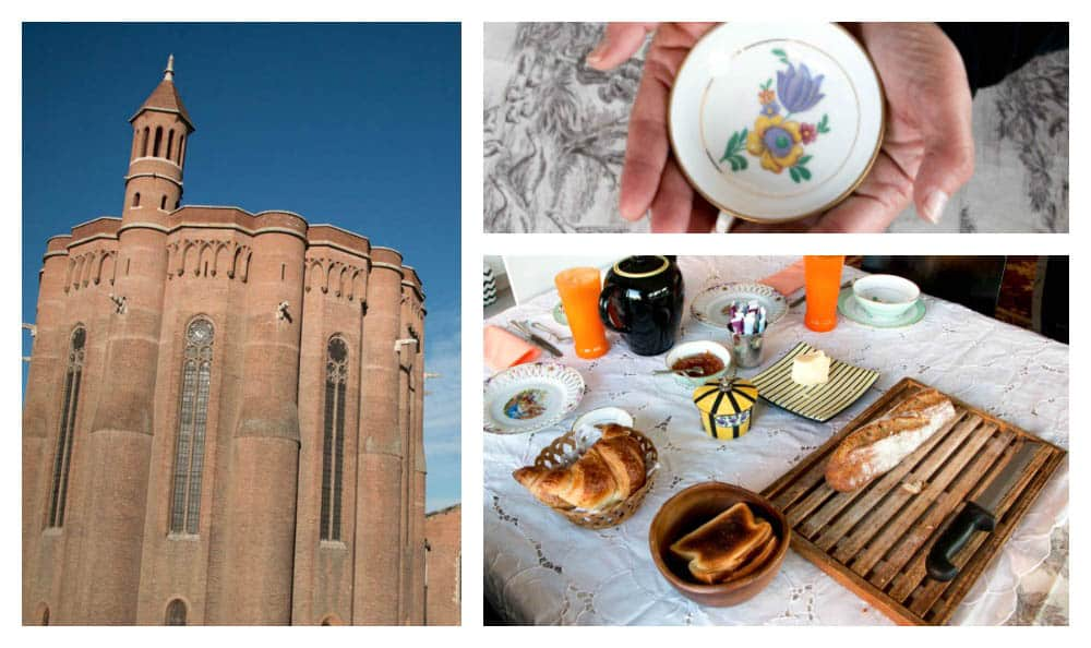 The continental breakfasts at our Airbnb werea highlight of our stay in Albi. Not only did our hosts serve breakfast on their heirloom Limoges china, but they also served it with a front row view of the cathedral. What's it all about albi. visit albi.