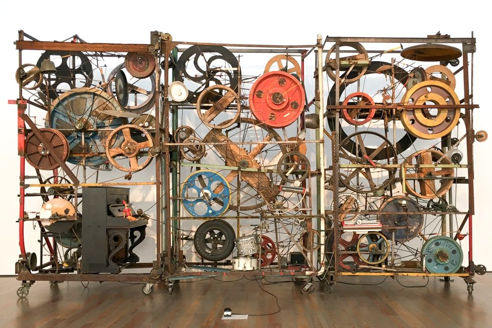 The Méta-Harmonie II is a stunning work of kinetic art by Jean Tinguely on display at the Tinguely Museum in Basel Switzerland. Things to Do in Basel Switzerland that Won't Break the Bank