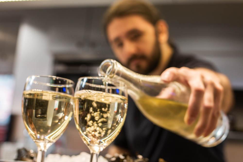 Wine at Chez Leon in Lyon France