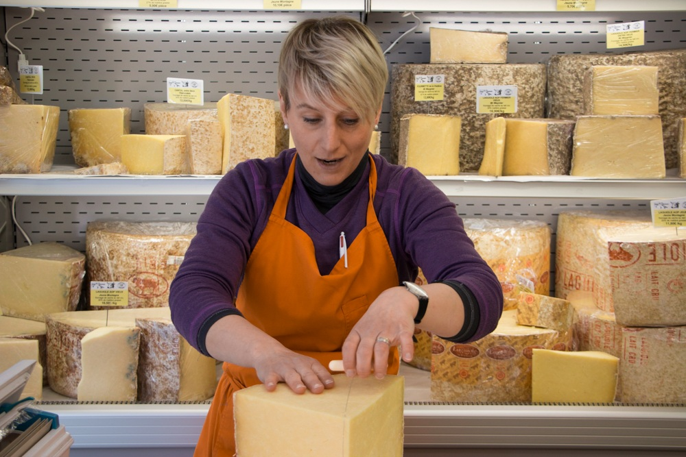 At Les Buronniers Fromagerie, cheesemonger Emmanuelle Vidalene tickled our taste buds with samples of Laguiole cheese. This small shop, in the center of town, is the perfect place to buy cheese to enjoy on the spot as well as for later. True France Laguiole