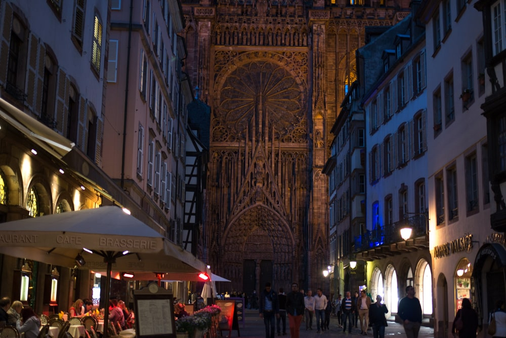 Outside the Notre Dame Cathedral at Night - Strasbourg Photo Essay