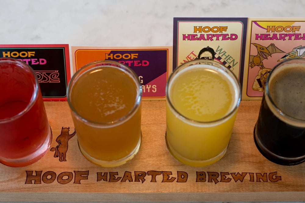 The beer flight at new Hoof Hearted Brewing is colorful and fun. Columbus Brew