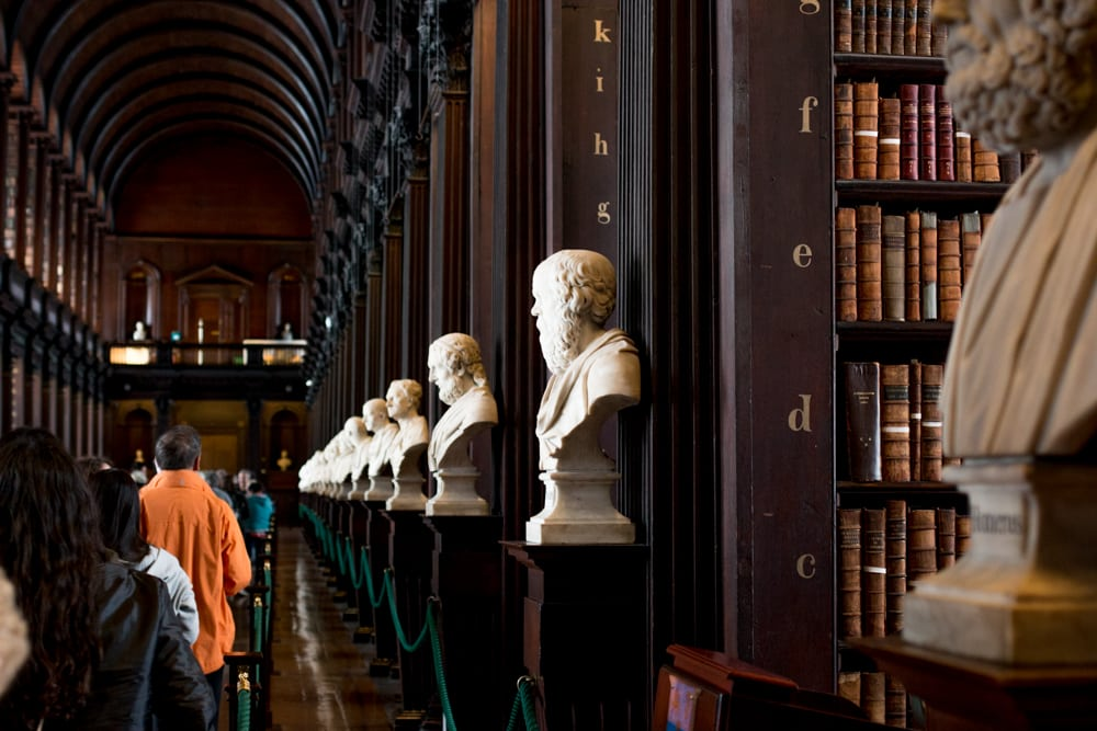 The Long Room at Trinity College in Dublin Ireland