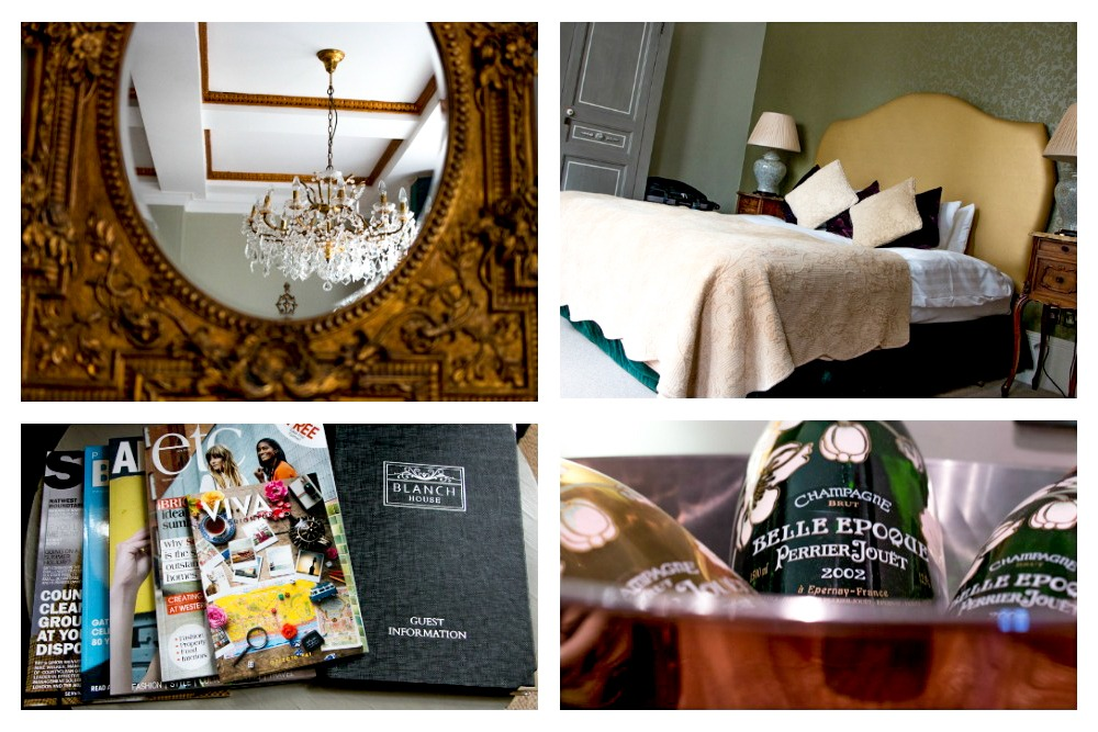 Blanch House Collage-2The Perrier Jouet room at Brighton's Blanch House is loaded with delightful details and a big, comfortable bed. 5 Great Hotels in South England
