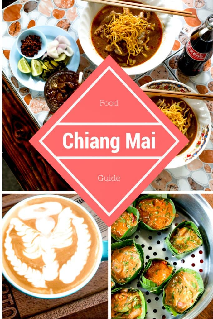 Pinterest image: four images of Chiang Mai food with caption reading 'Chiang Mai Food Guide'