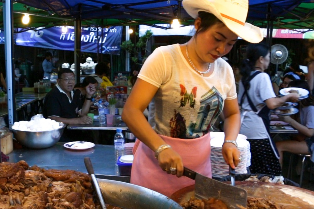 Khao Kha Moo. Chiang Mai Thailand. Cowboy Hat Lady