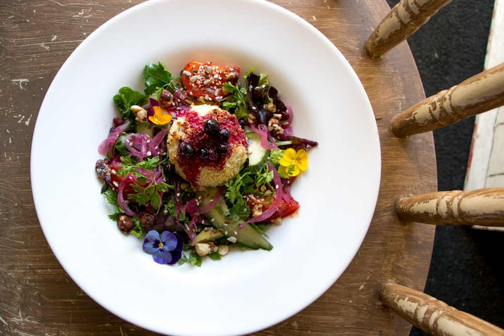 This goat cheese salad at the Hungry Monk Café includes a melange of fresh ingredients plucked from the rich culinary region. Culinary Road Trip through Western Ireland. Cong