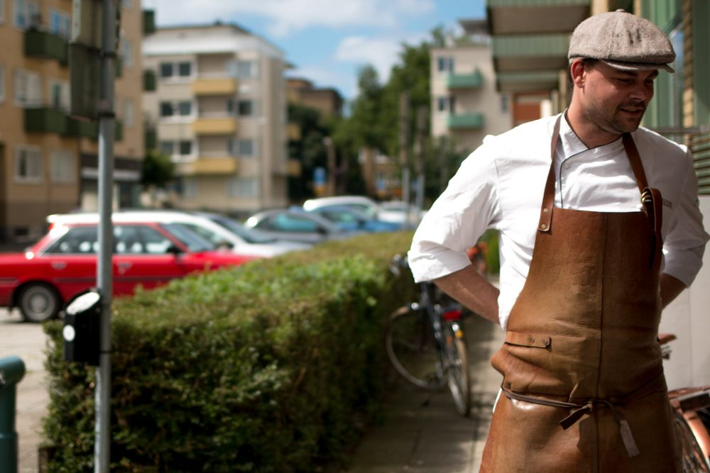 Paul Andersson stands in front of his gourmet shop in downtown Malmö. Gastronomic Tour of Southern Sweden in Skåne
