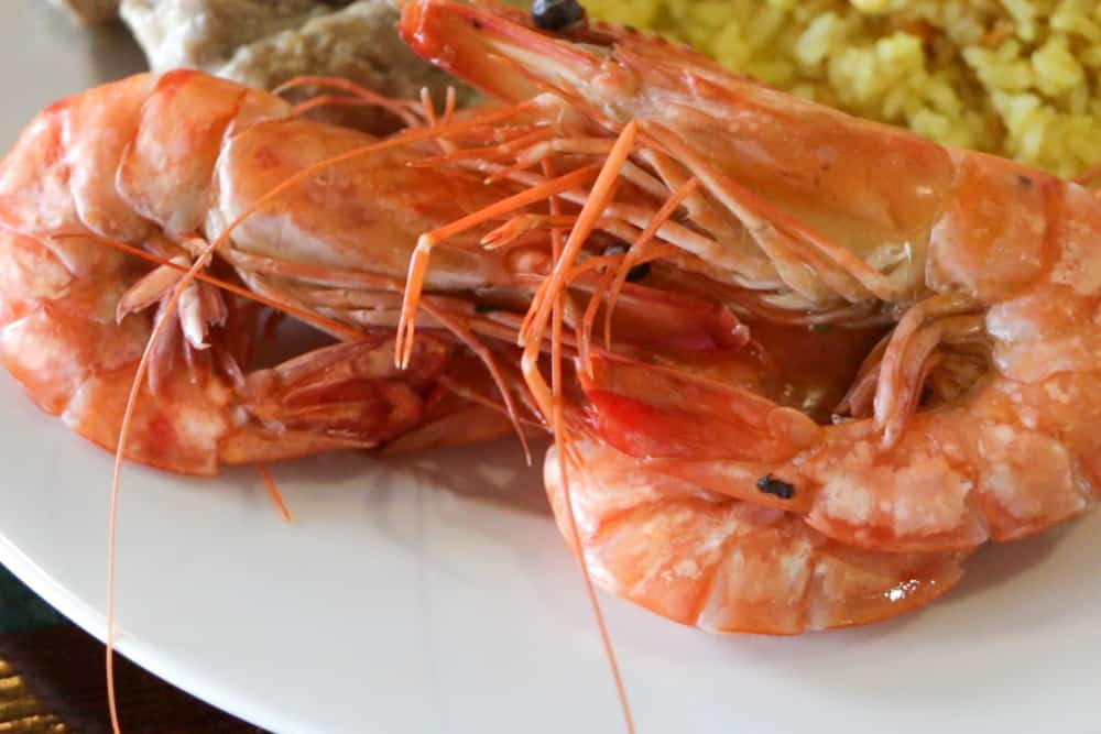 Fresh seafood is a highlight of the dinner buffet on the Emeraude. Cruising Halong Bay Vietnam