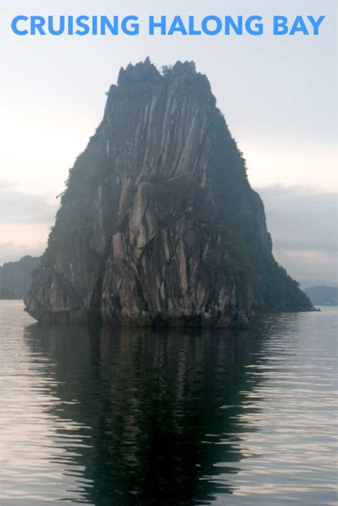 Pinterest image: image of Halong Bay with caption reading 'Cruising Halong Bay'