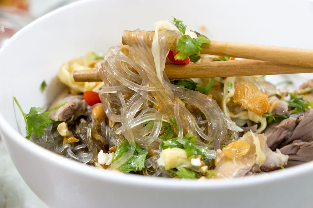 Bowl of Mien Tron in Hanoi Vietnam - Soya Noodles with Muscovy Duck - What to Eat in Hanoi - A Hanoi Food Guide