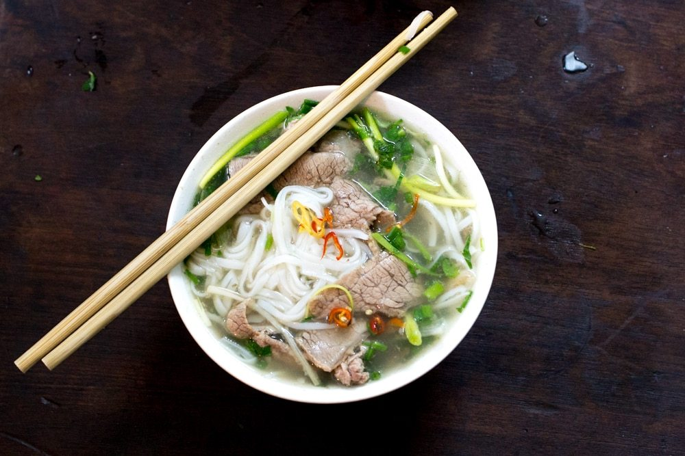 Bowl of Beef Pho with Chopsticks in Hanoi Vietnam