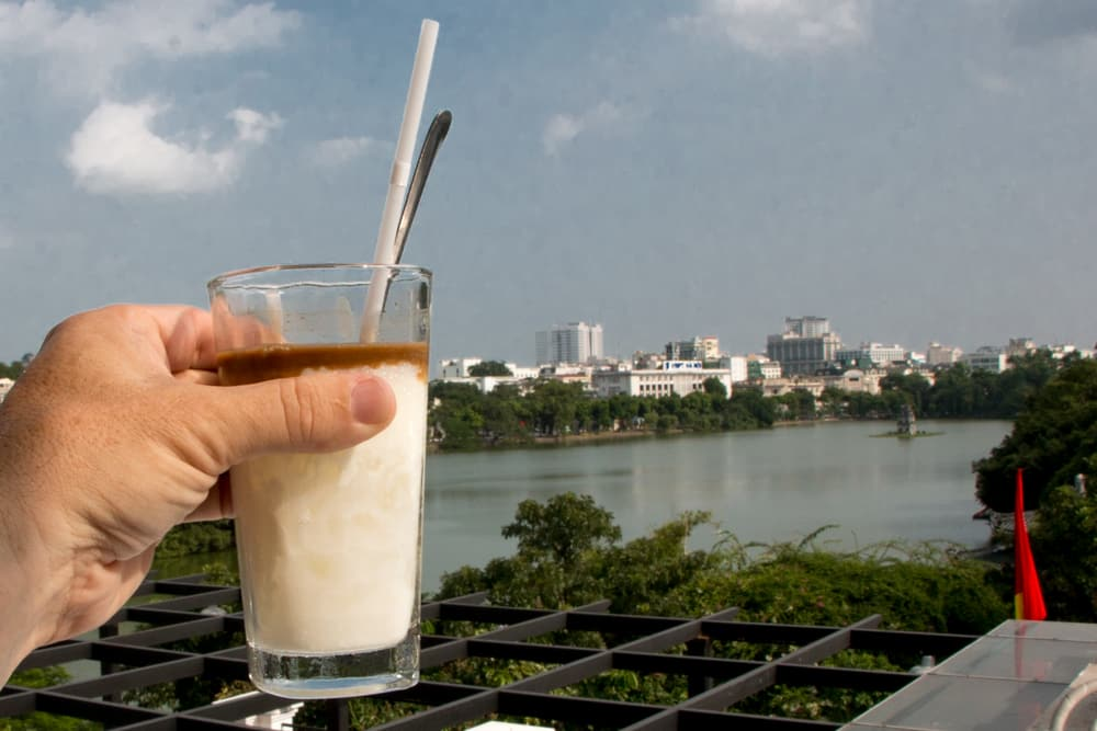 Cafe Pho Co serves its coffee with a view. Make sure you know the address because this is a hidden cafe. What to Eat in Hanoi - A Hanoi Food Guide
