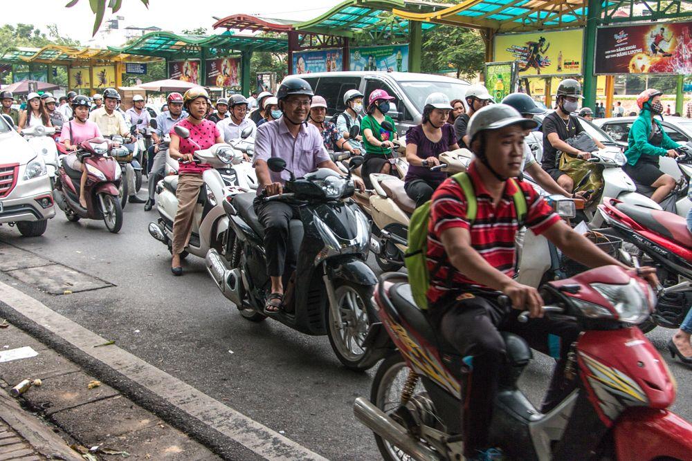Busy Hanoi Traffic En Route to Bun Cha Hanoi