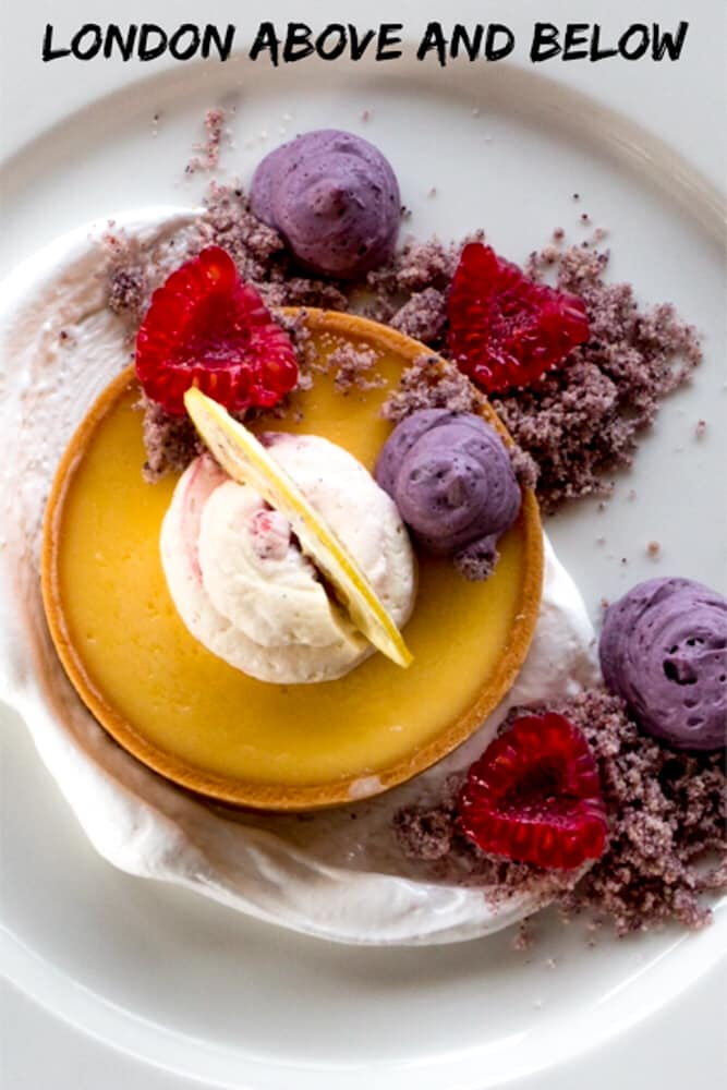 Pinterest image: image of dessert with caption 'London Above and Below'