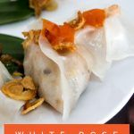Pinterest image: image of white rose dumplings with caption reading 'White Rose Dumplings in Vietnam'