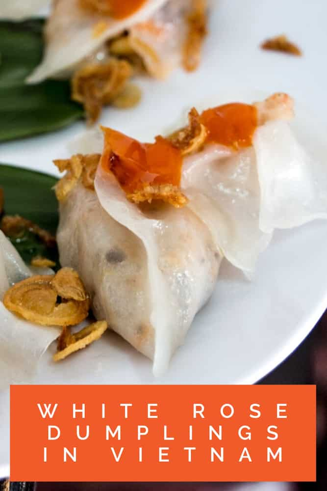 White Rose Dumplings are a local specialty in Vietnam. Watch the 2foodtrippers video to learn about these unique dumplings made with white rice paper, shrimp and pork.