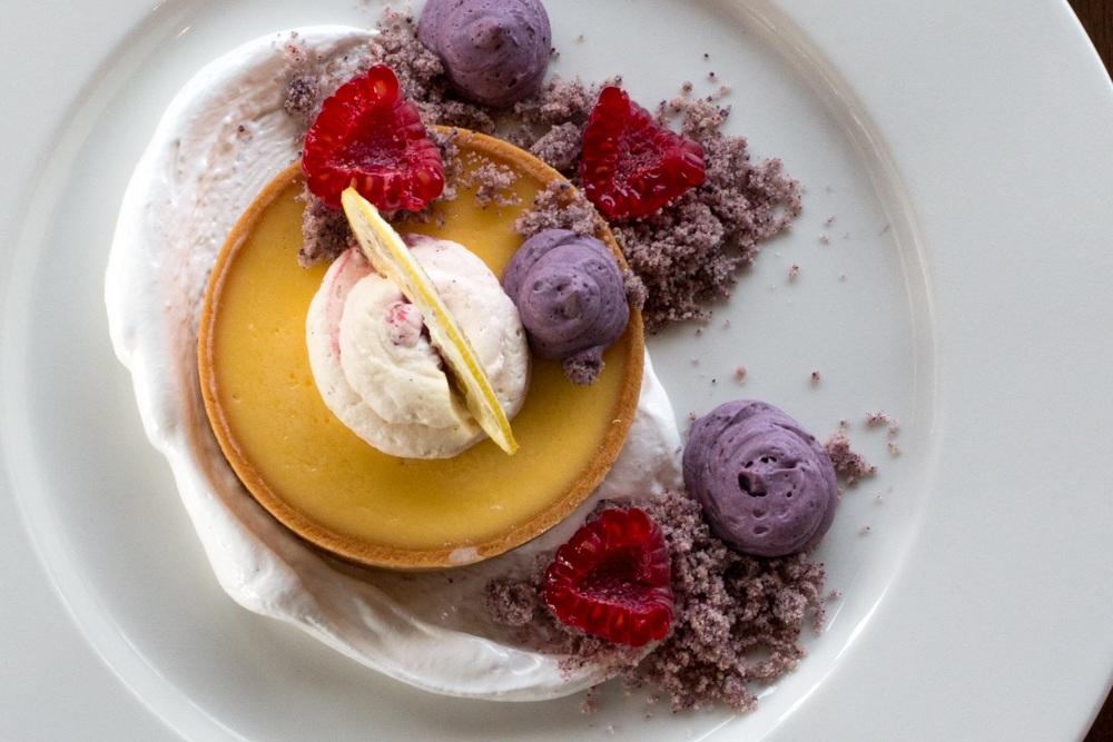 Lemon Brulee Tart with Raspberry Cream and Blueberry Custard at Restaurant at the Tate Modern