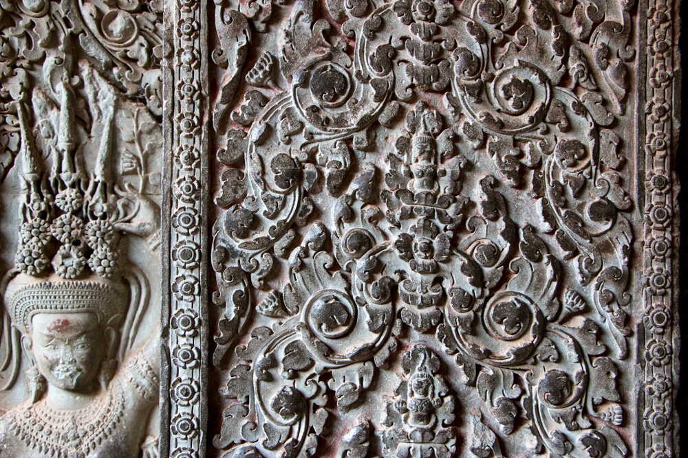 Though grand and majestic, Angkor Wat has stunning details like this relief. Cambodian Adventure in Siem Reap