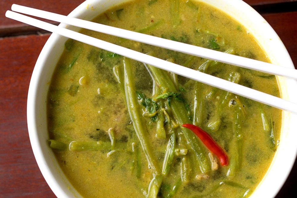 Cambodian Green Curry Dish Servedwith Morning Glory. Cambodian Adventure in Siem Reap