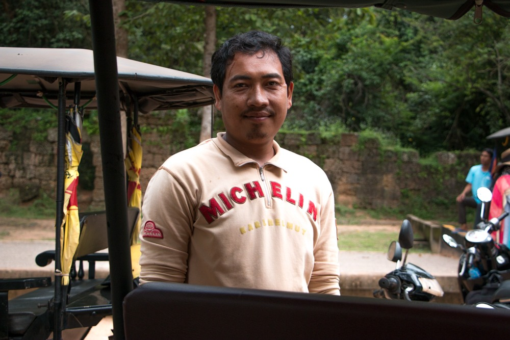 We knew we had the best tuk tuk driver when we saw the logo on his shirt! Cambodian Adventure in Siem Reap