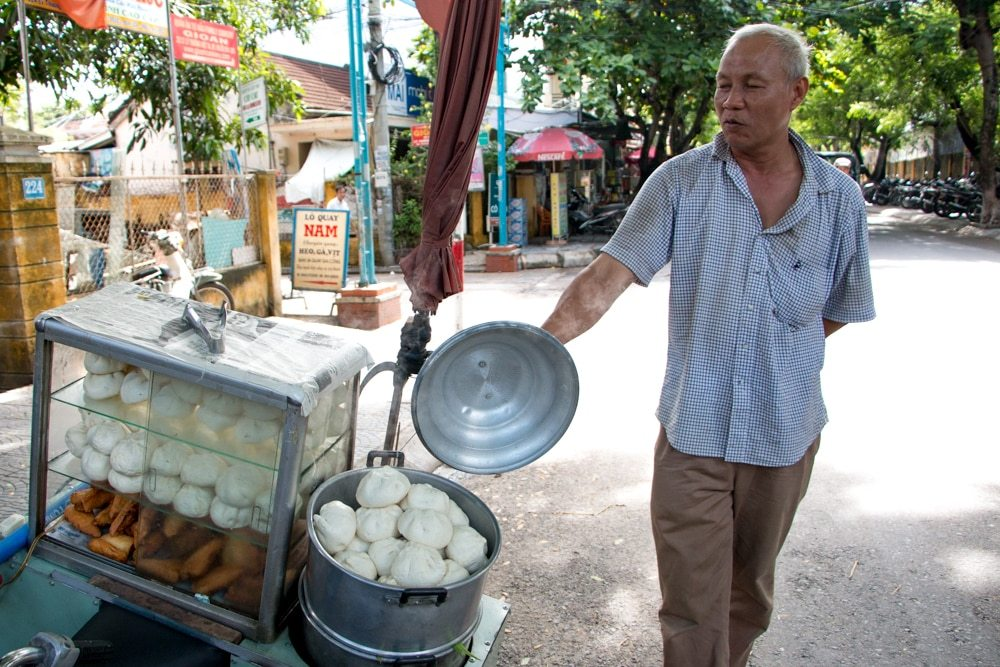 Bao Vendor in Hoi An Vietnam - Central Vietnam Food