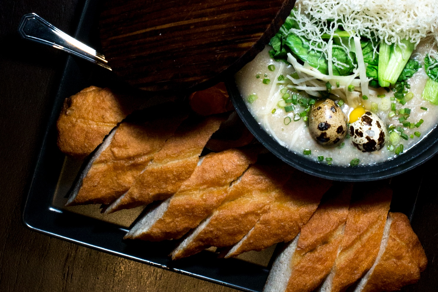 Congee at CHOW Cafe at the Metropole in Bangkok Thailand