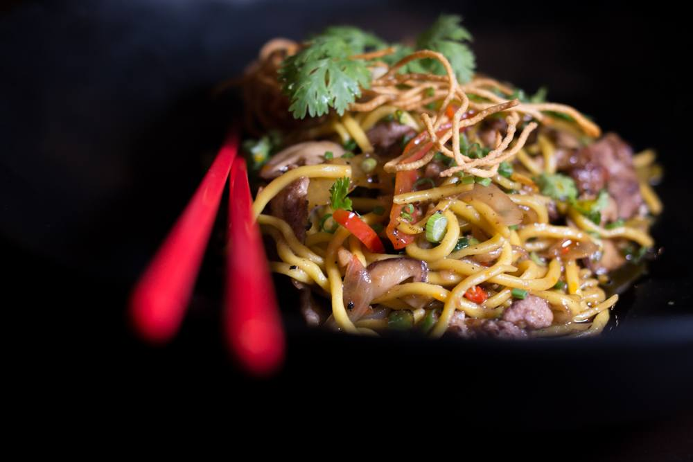 Lo-Mein Noodles with Mongolian Beef at CHOW Cafe in Bangkok Thailand