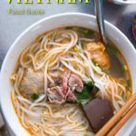 Pinterest image: image of Vietnamese food with caption reading 'Central Vietnam Food Guide'