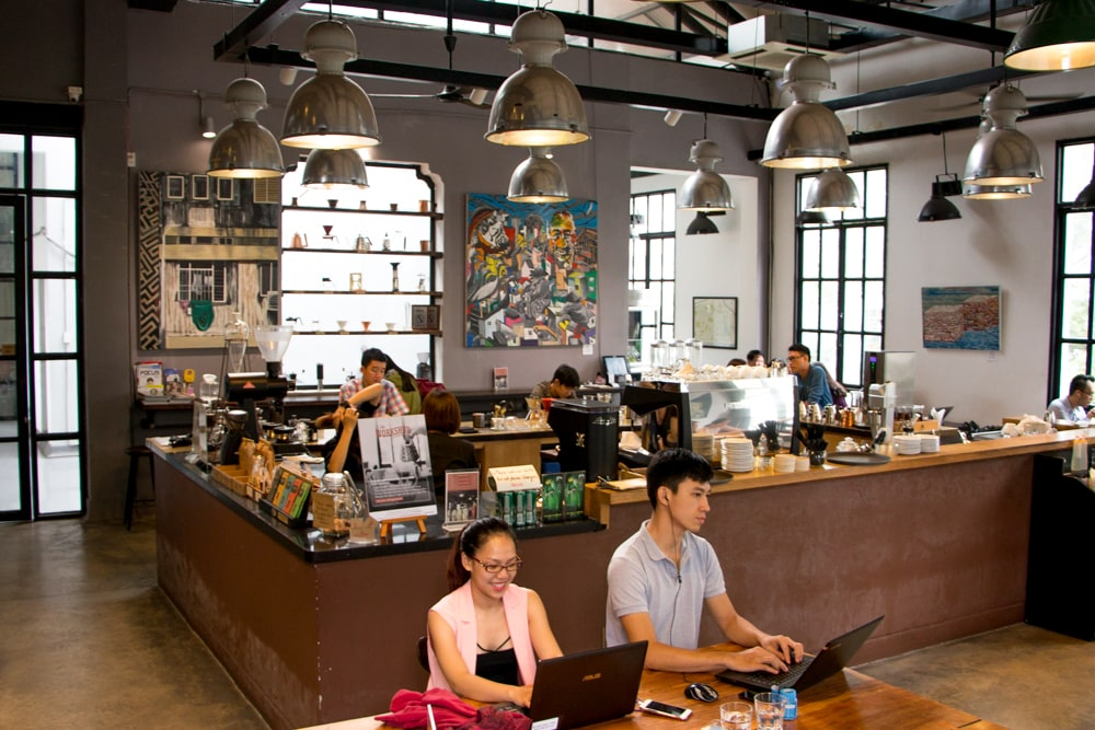 The Workshop is an ideal spot for working and excellent coffee. Artisan Chocolate and Beer in Saigon Vietnam