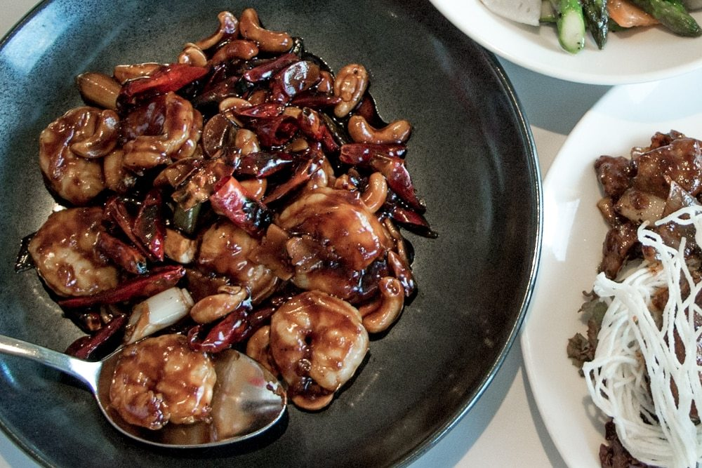 Sichuan-style Sauteed Gong Bao Tiger Prawns. london dim sum lunch min jiang 2foodtrippers