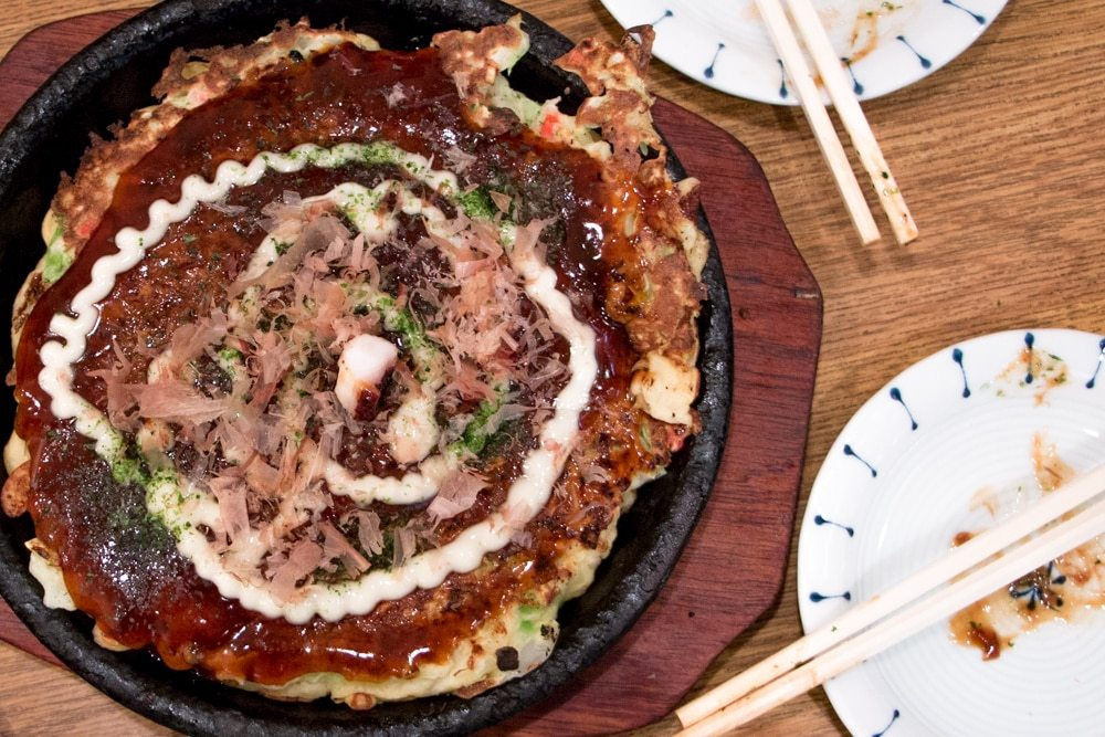 Okonomiyaki in Osaka Japan