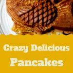 Pinterest image: image of Japanese food with caption reading 'Crazy Delicious Pancakes Osaka'