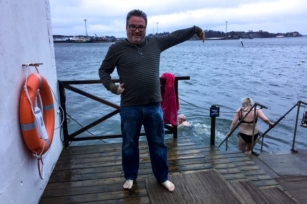 Baltic Sea Dip on Christmas Day in Helsinki Finland