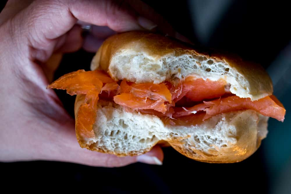 Bagel and Lox t Beigel Bake on Brick Lane in London England