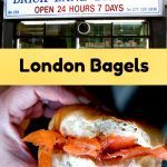 Pinterest image: image of bagel with caption reading 'London Bagels'